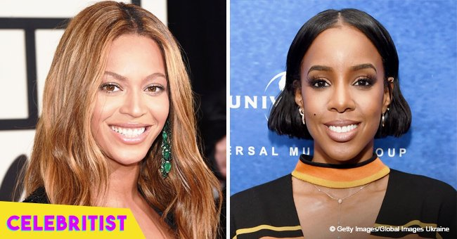 Beyoncé flaunts slimmer curves in 'leggy' velvet dress posing with Kelly Rowland in pic