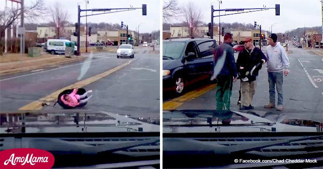 Appalling footage shows infant falling out of a moving vehicle still strapped into car seat