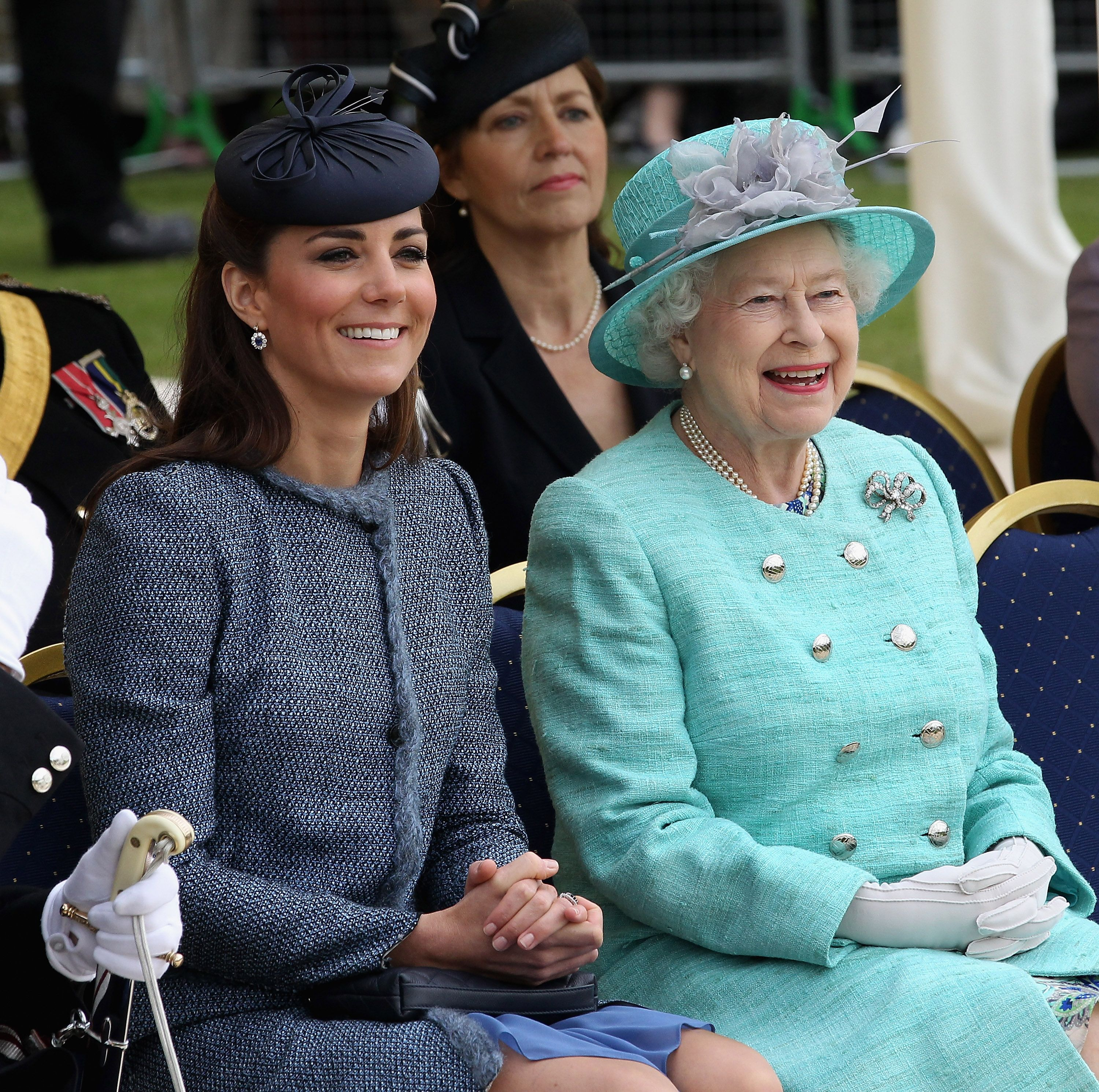 Catherine Middleton and Queen Elizabeth II smile as they visit Vernon Park during a Diamond Jubilee visit to Nottingham on June 13, 2012 in Nottingham, England.   Source: Getty Images