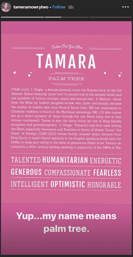 A screen shot of Tamera Mowry's Instagram Story post about her name. | Photo: Instagram/tameramowrytwo