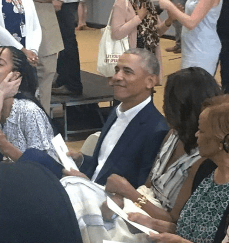 Barack Obama beaming with pride from the audience as he witnesses his youngest daughter, Sasha's high school graduation. | Source: Instagram/Jonathan Disegi