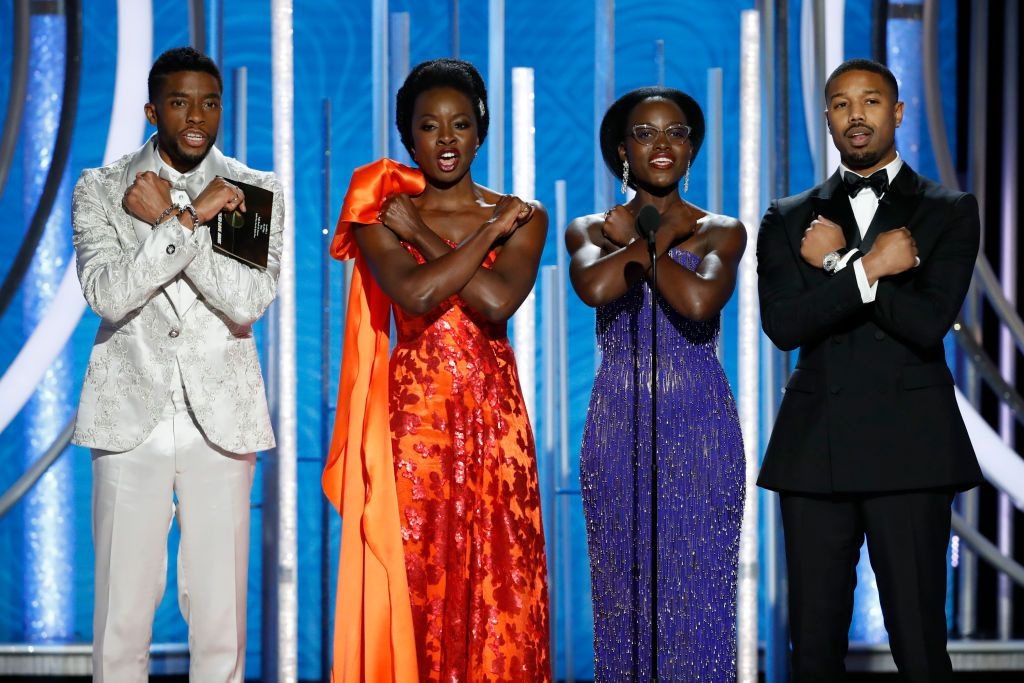 """""""Black Panther"""" stars speak onstage during the 76th Annual Golden Globe Awards at The Beverly Hilton Hotel on January 06, 2019 in Beverly Hills, California. 