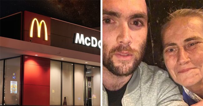 A collage of a McDonald's storefront and Cardiff resident Jonathan Pengelly with the homeless woman   Photo: Twitter.com/Independent  unsplash.com/visualbywahyu