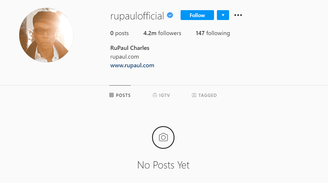 A snapshot of RuPaul's Instagram account after all his posts were deleted. | Source: Instagram/RuPaul