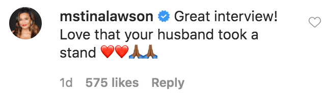 """Tina Lawson commented on a video of Serena William and Alexis Ohanian during an episode of """"Serena Saturdays""""  Source: Instagram.com/serenawilliams"""