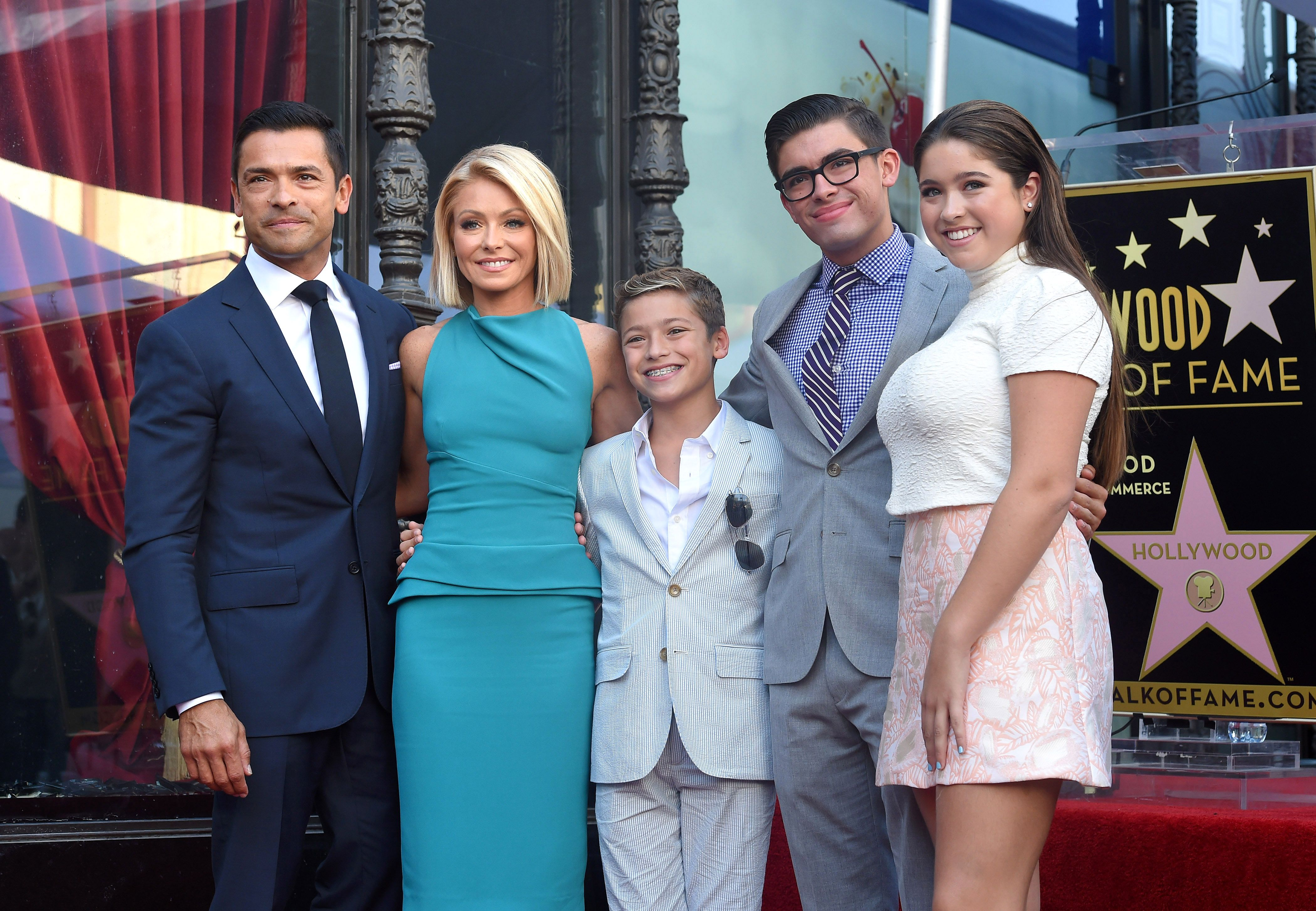 Kelly Ripa, Mark Consuelos, Lola, Michael and Joaquin Consuelos at the ceremony honoring Ripa with a star on the Hollywood Walk of Fame in 2015 in Hollywood | Source: Getty Images