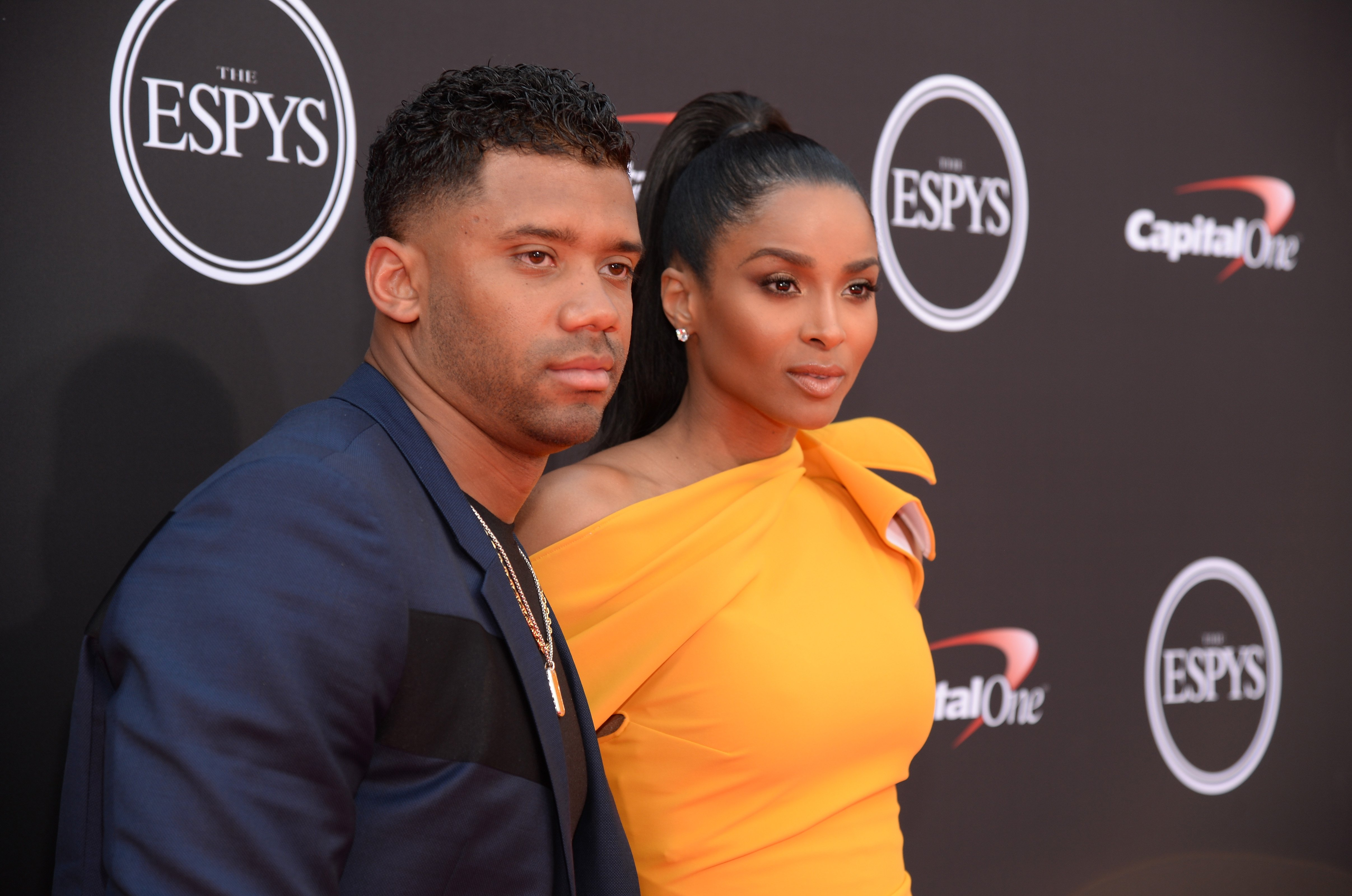 Ciara and Russell Wilson at the 2018 ESPY Awards red carpet live show on July 18, 2018 in Los Angeles, California.| Source: Getty Images