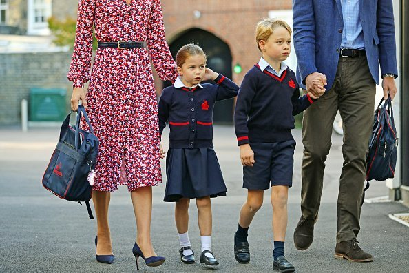 Princess Charlotte arrives for her first day of school at Thomas's Battersea in London, with her brother Prince George | Photo: Getty Images
