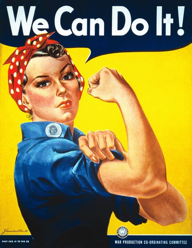 "Iconic World War II poster of ""Rosie the Riveter"" designed by J. Howard Miller on January 01, 1940 