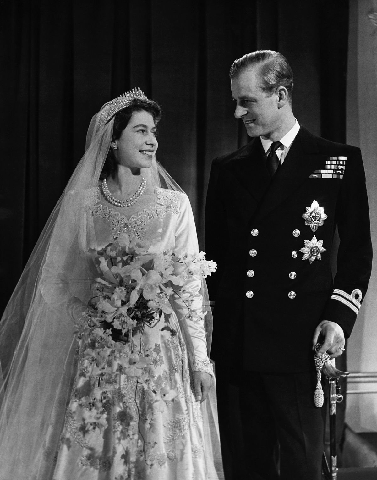Princess Elizabeth, later Queen Elizabeth II with her husband Phillip on their wedding day, 20th November 1947. | Getty Images