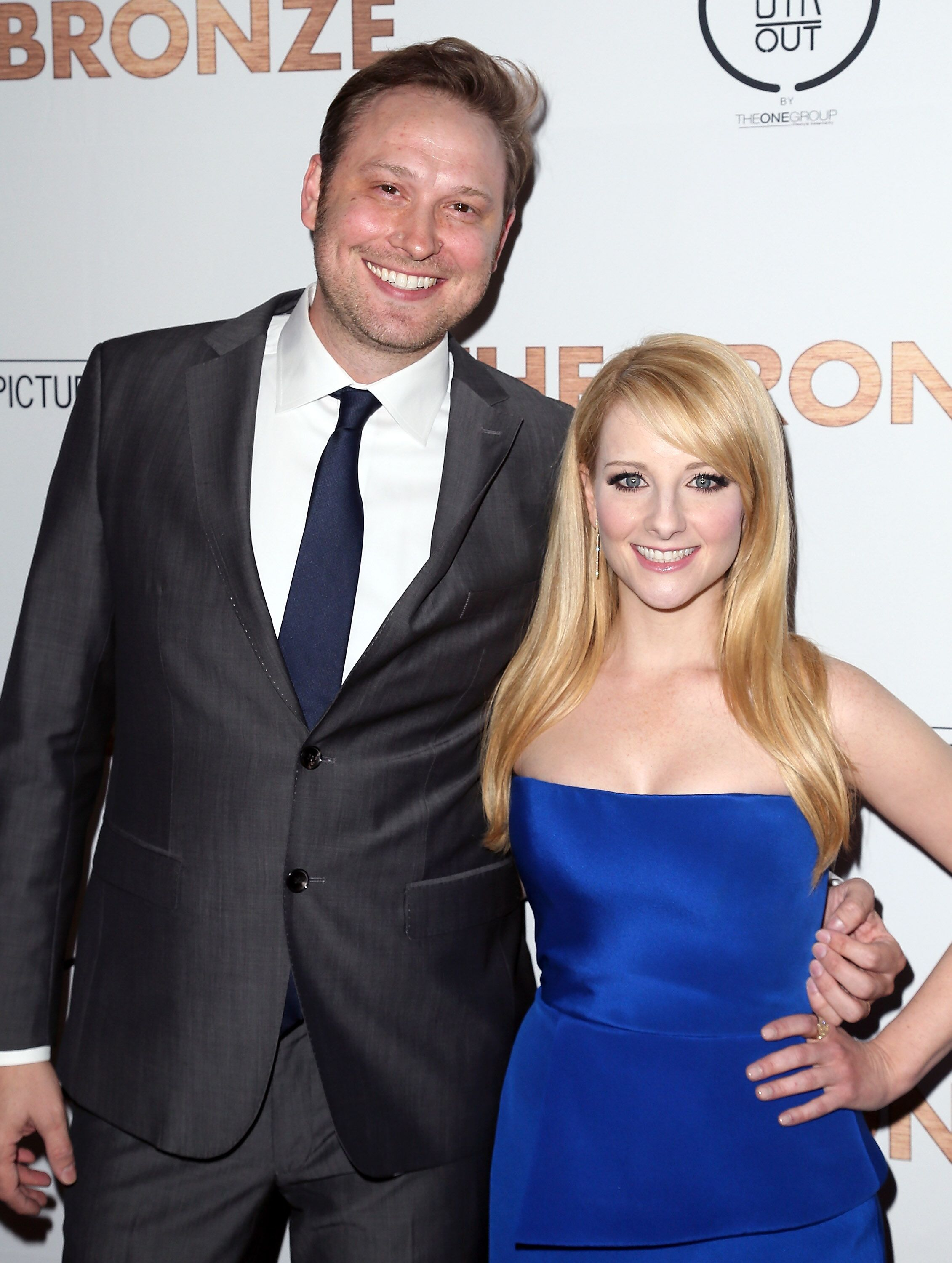 """Writer Winston and wife actress Melissa Rauch at the premiere of """"The Bronze"""" on March 7, 2016, in West Hollywood, California 