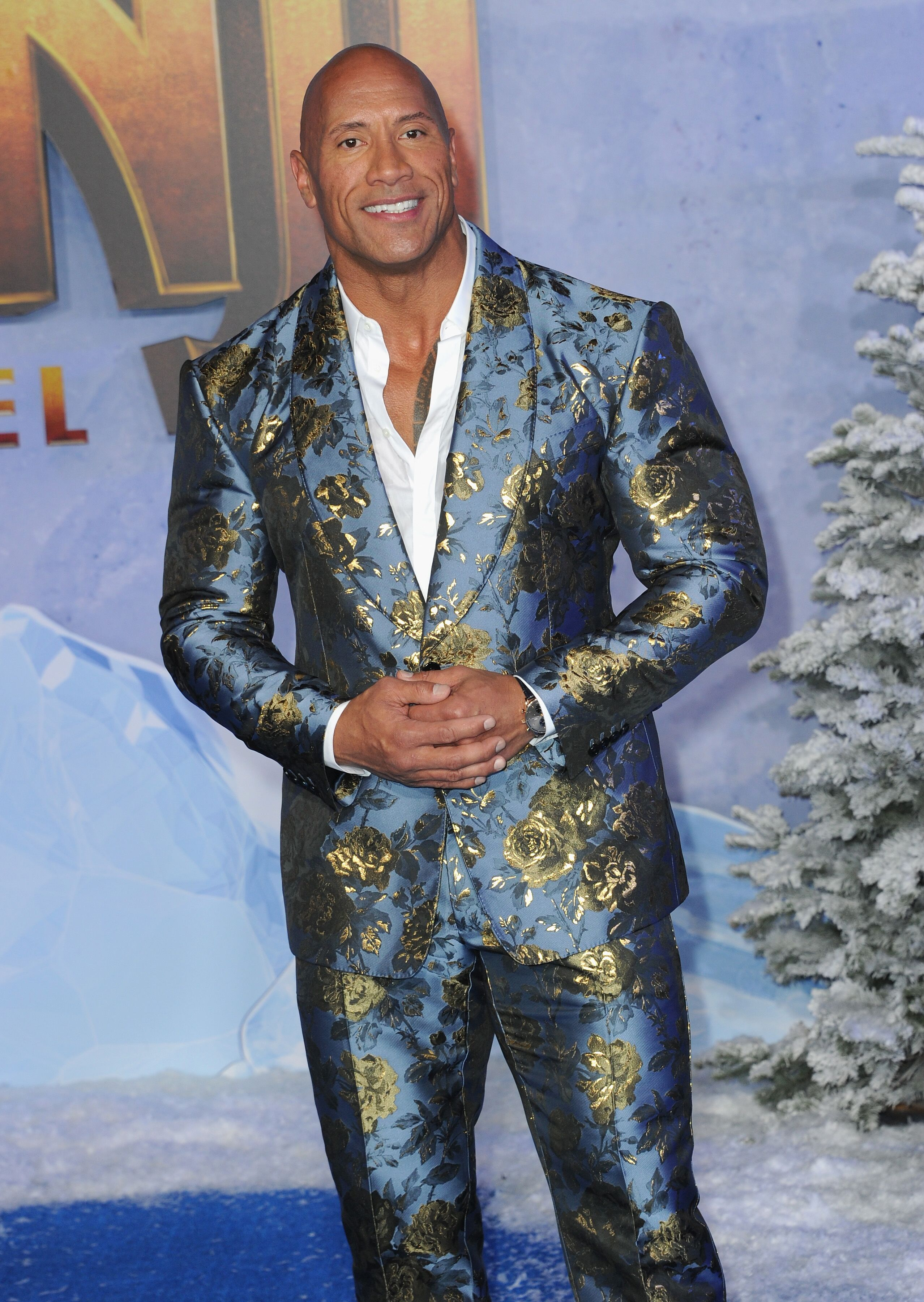 """Dwayne Johnson at the premiere of """"Jumanji: The Next Level"""" on December 9, 2019, in Hollywood, California 