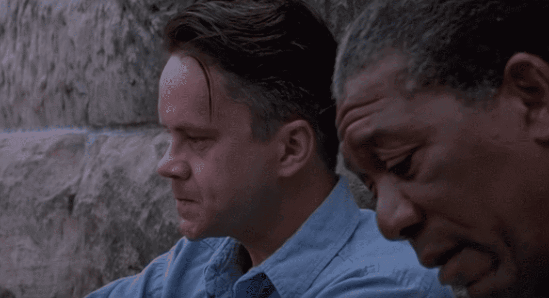 "Tim Robbins and Morgan Freeman in the movie ""The Shawshank Redemption."" 