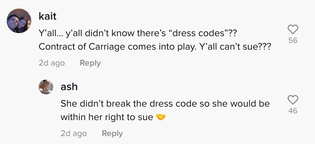 The comment section of a viral TikTok video in which a woman claimed a flight attendant shamed her outfit | Photo: TikTok/sierrasteadman