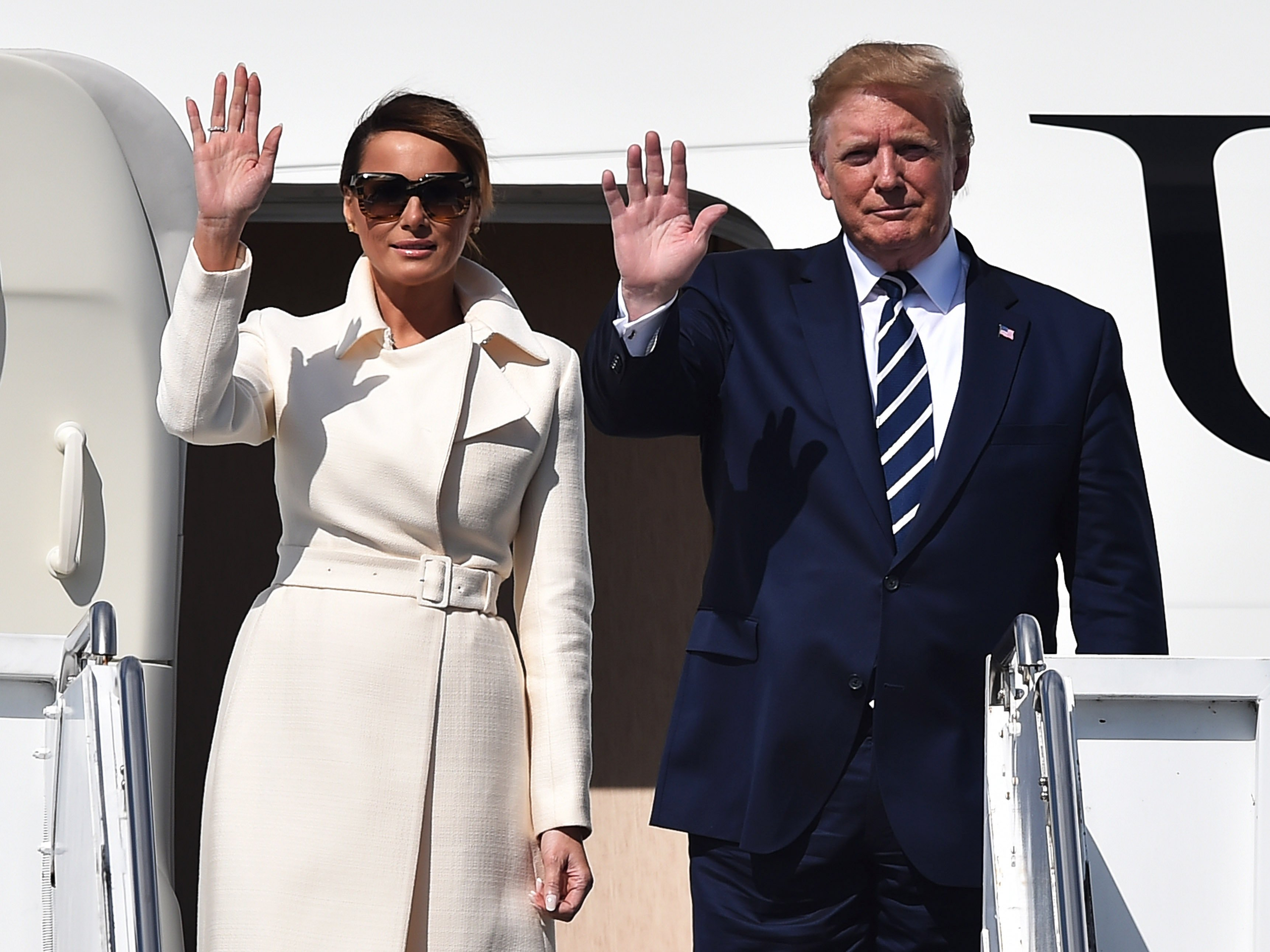 President Donald Trump and his wife Melania Trump arrive in Portsmouth for the 7th D-Day commemoration in June 2019   Photo: Getty Images