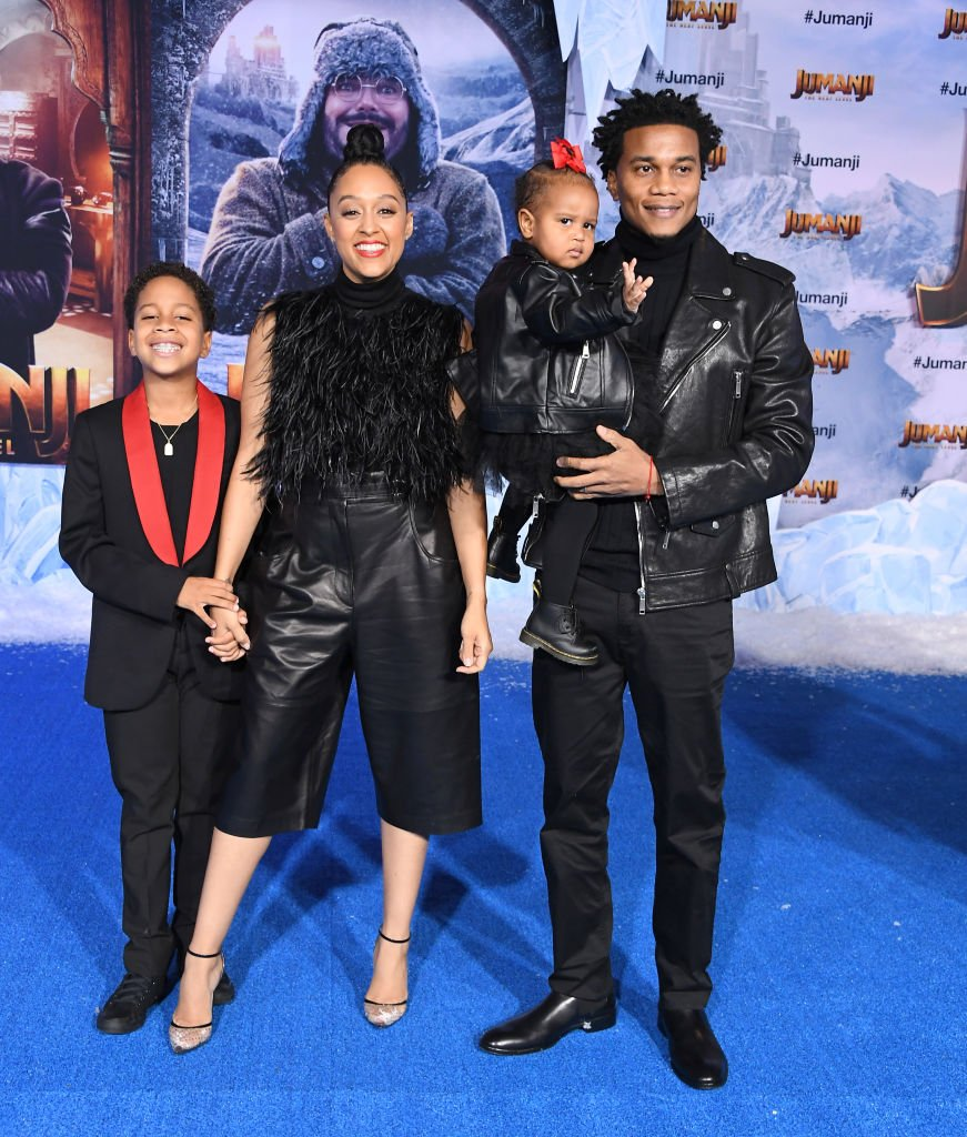 "Cree Hardrict, Tia Mowry-Hardrict, Cory Hardrict and Cairo Tiahna Hardrict arrive at the Premiere Of Sony Pictures' ""Jumanji: The Next Level"" on December 09, 2019 
