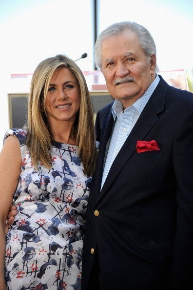 Jennifer Aniston who was honored with a star the the Hollywood Walk Of Fame with her father John Aniston on February 22, 2012, in Hollywood, California. | Source: Getty Images.