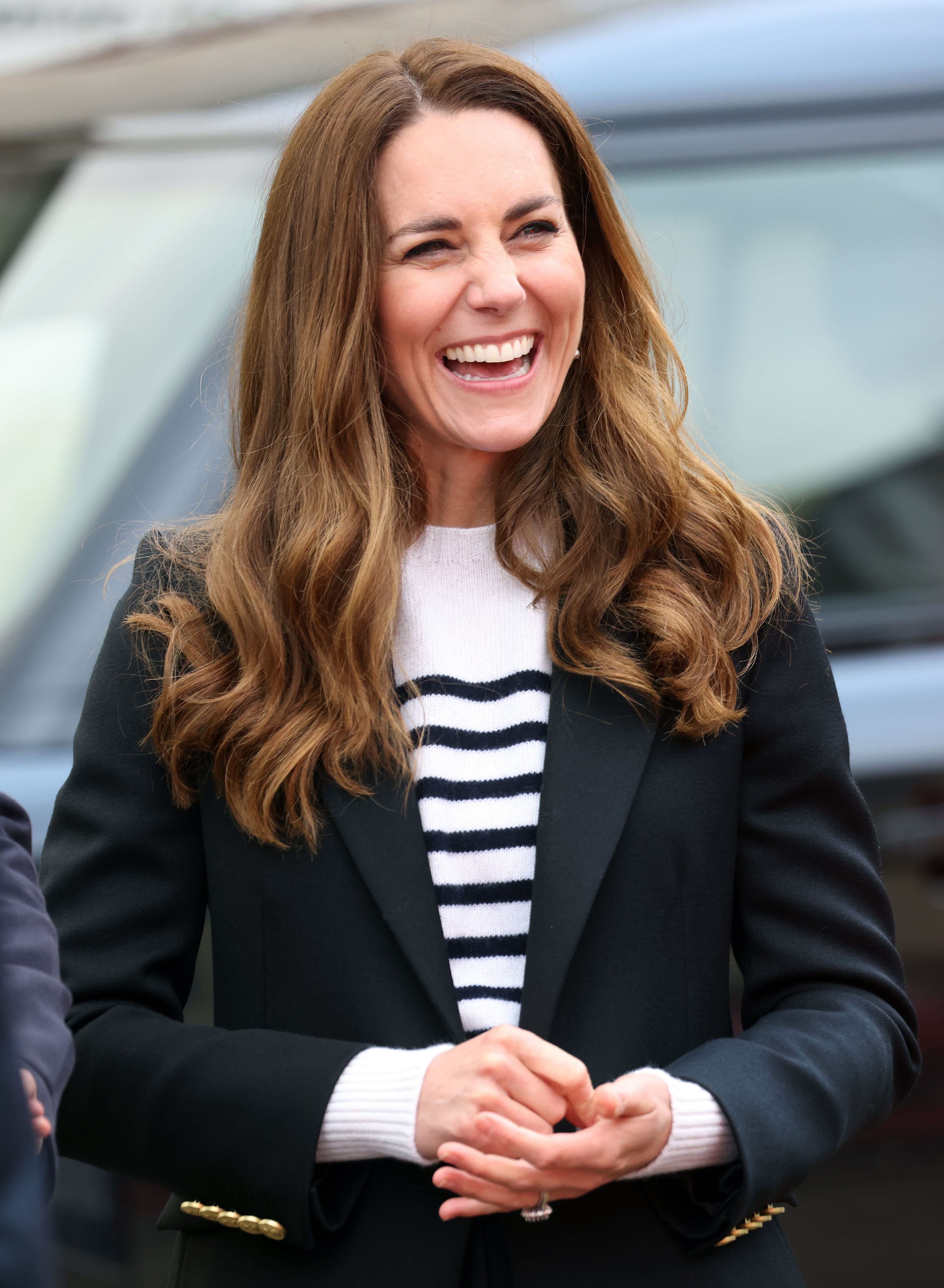 Catherine, Duchess of Cambridge smiles as she meets local fishermen and their families to hear about the work of fishing communities in the village of Pittennweem with Prince William, Duke of Cambridge on day six of their week-long visit to Scotland on May 26, 2021 | Getty Images
