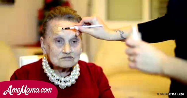 80-year-old asks granddaughter to do her makeup. How old do you think she looks now?