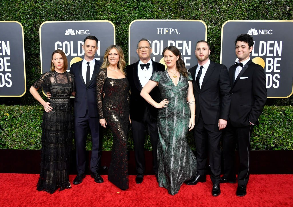 Samantha Bryant, Colin Hanks, Rita Wilson, Tom Hanks, Elizabeth Ann Hanks, Chet Hanks, and Truman Theodore Hanks attend the 77th Annual Golden Globe Awards at The Beverly Hilton Hotel on January 05, 2020 in Beverly Hills, California. | Source: GettyImages