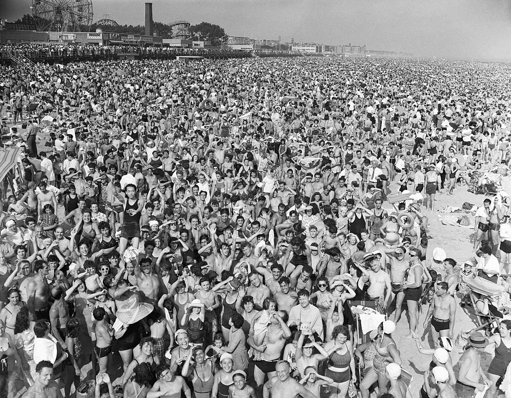 Massive crowd at Coney Island in July of 1940 amidst a heatwave   Source: Getty Images