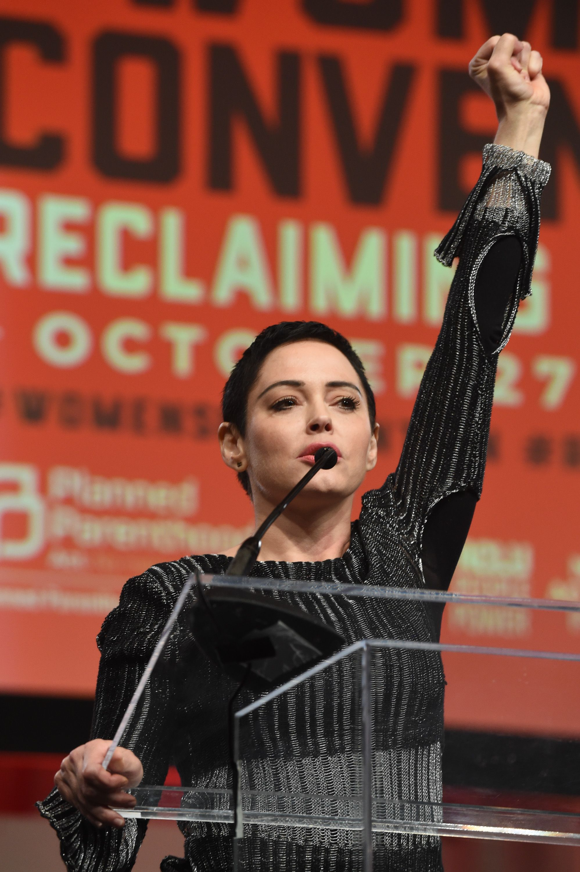 Rose McGowan speaking at The Women's Convention in October 2017 in Detroit, Michigan | Source: Getty Images
