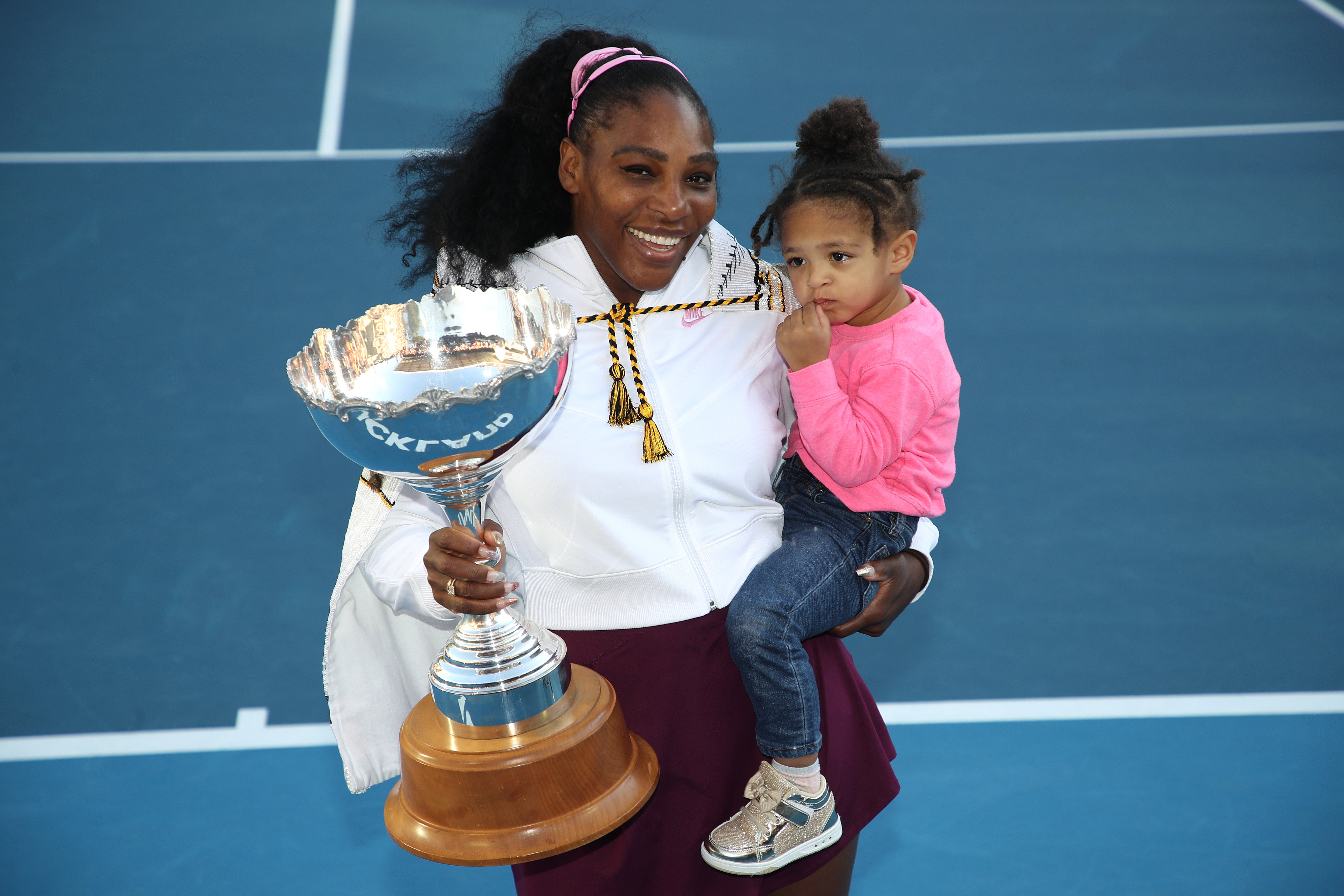 Serena Williams and Olympia Ohanian on the court at the 2020 Women's ASB Classic at ASB Tennis Centre on January 12, 2020 in Auckland, New Zealand. | Source: Getty Images