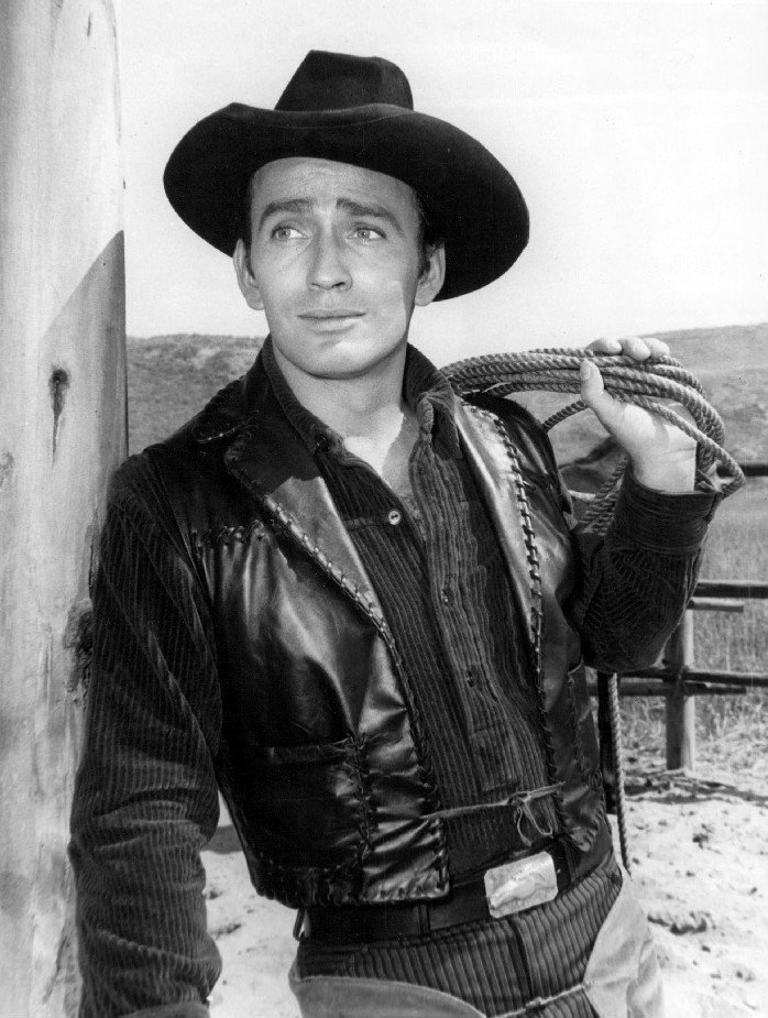Photo of James Drury in the title role from the television program The Virginian.   Image: Wikimedia Commo
