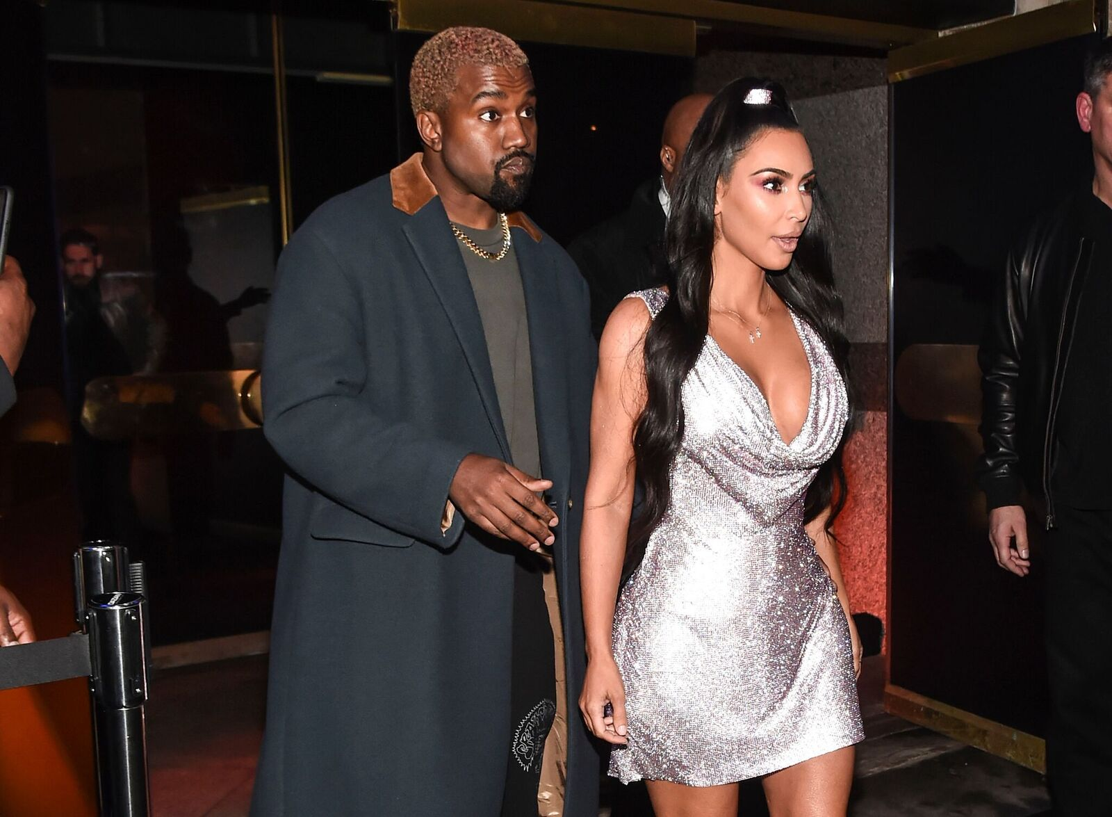 Kim Kardashian is seen wearing a Versace dress with Kanye West outside the Versace Pre-Fall 2019 Collection on December 2, 2018 in New York City | Photo: Getty Images