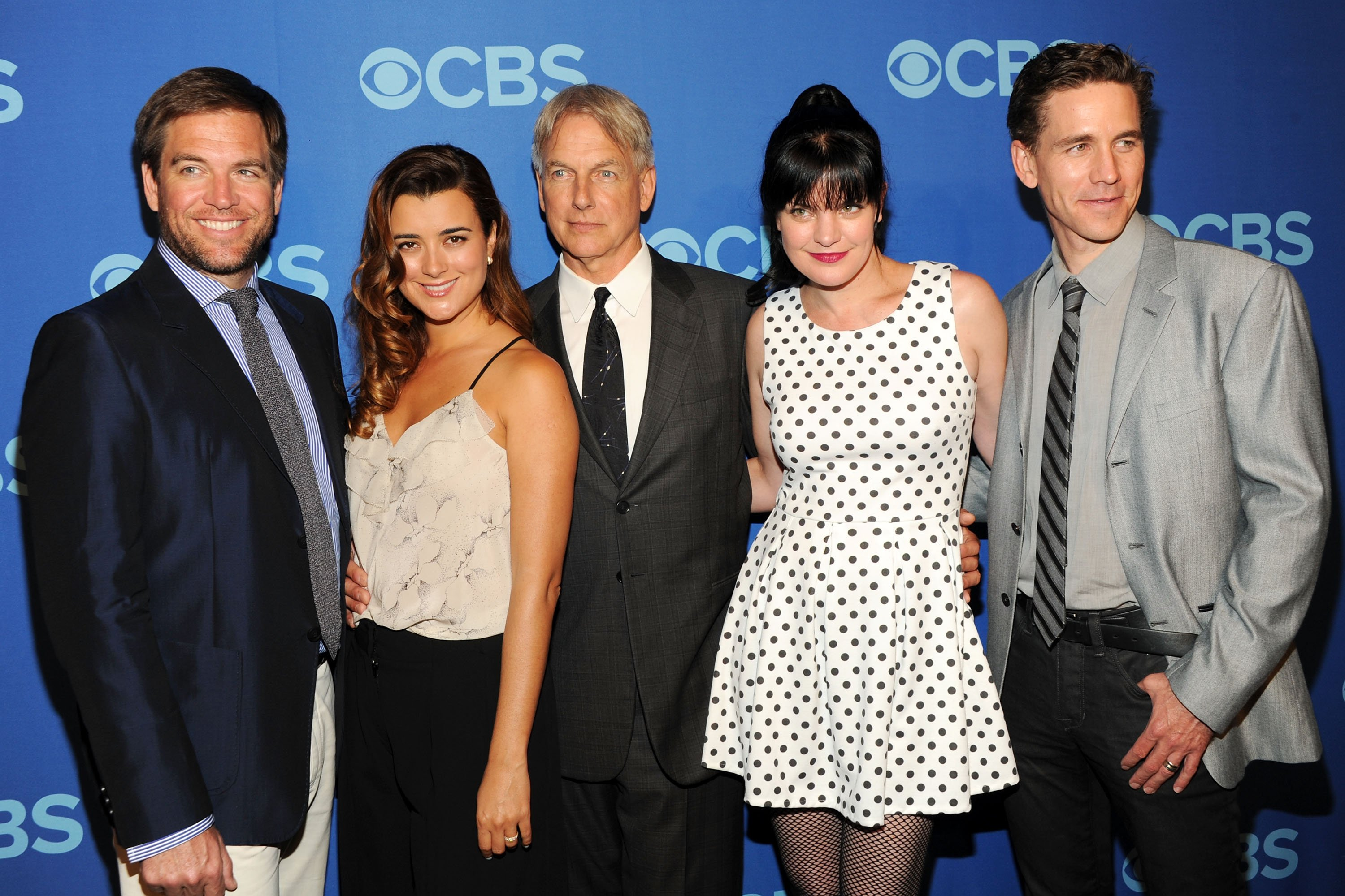 Cast of NCIS Michael Weatherly, Cote de Pable, Mark Harmon, Pauley Perrette and Brian Dietzen attend CBS 2013 Upfront Presentation at The Tent at Lincoln Center on May 15, 2013 in New York City. | Source: Getty Images