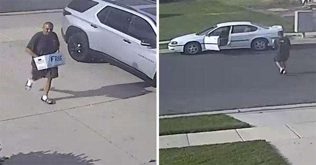 """CCTV footage of the porch pirate carrying the basked with the word """"free"""" on it in the Hooper area of Weber County, in Utah   Photo: Weber County Sheriff's Office"""