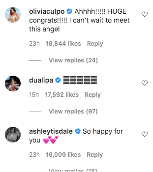 A screenshot of Olivia Culpo's comment on Gigi Hadid's post on her instagram page | Photo: instagram.com/gigihadid/