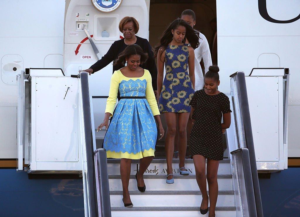 Michelle, Sasha, and Malia Obama with Marian Shields Robinson   Photo: Getty Images