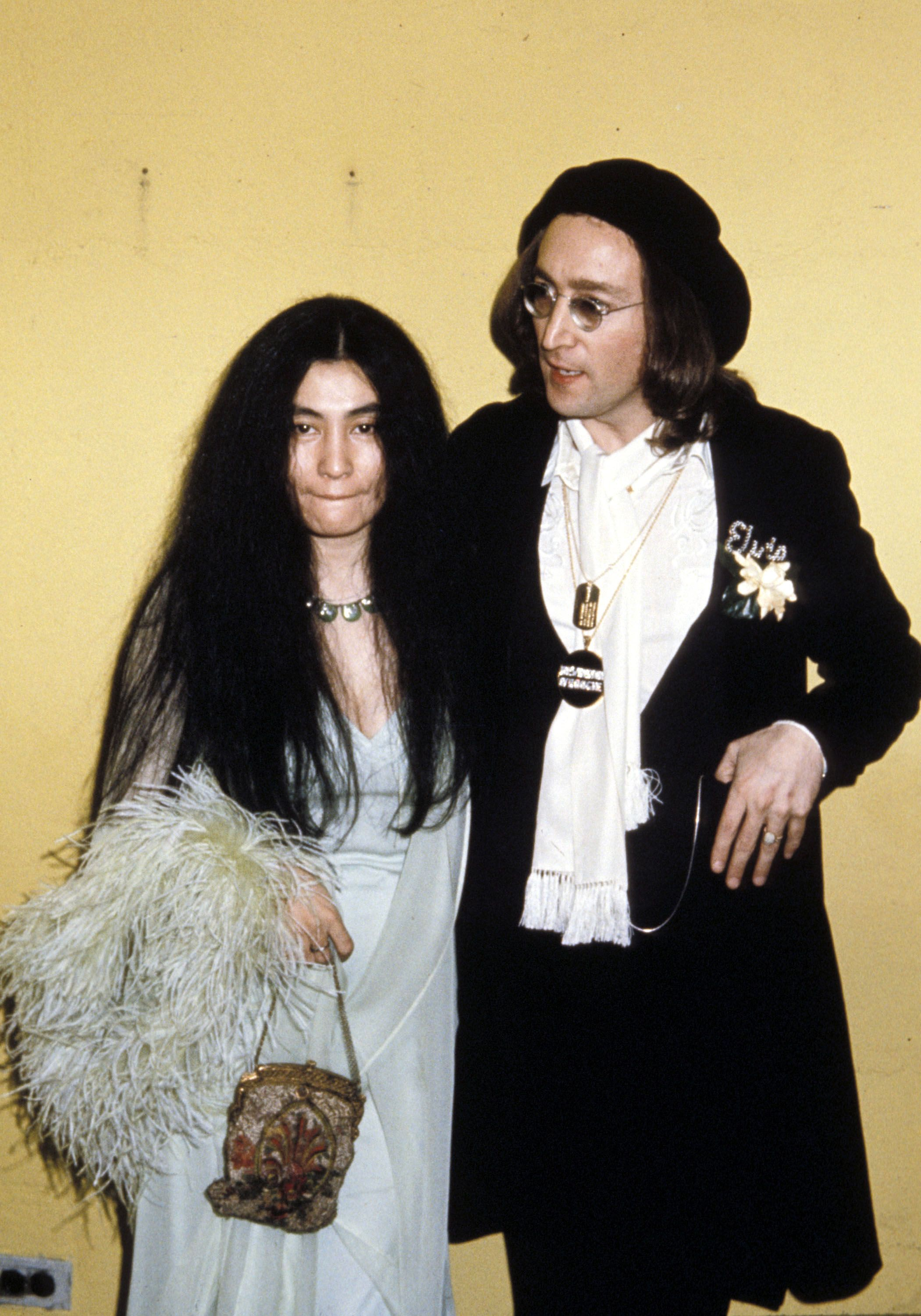 Yoko Ono and John Lennon at the 17th Annual GRAMMY Awards. | Source: Getty Images