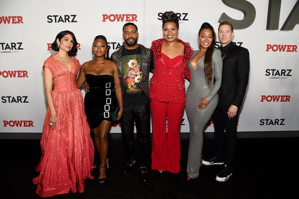 "(L-R) Lela Loren, Naturi Naughton, Omari Hardwick, Courtney A. Kemp, La La Anthony, & Joseph Sikora at ""Power"" Season 6 Red Carpet Premiere on Aug. 20, 2019 in New York City 