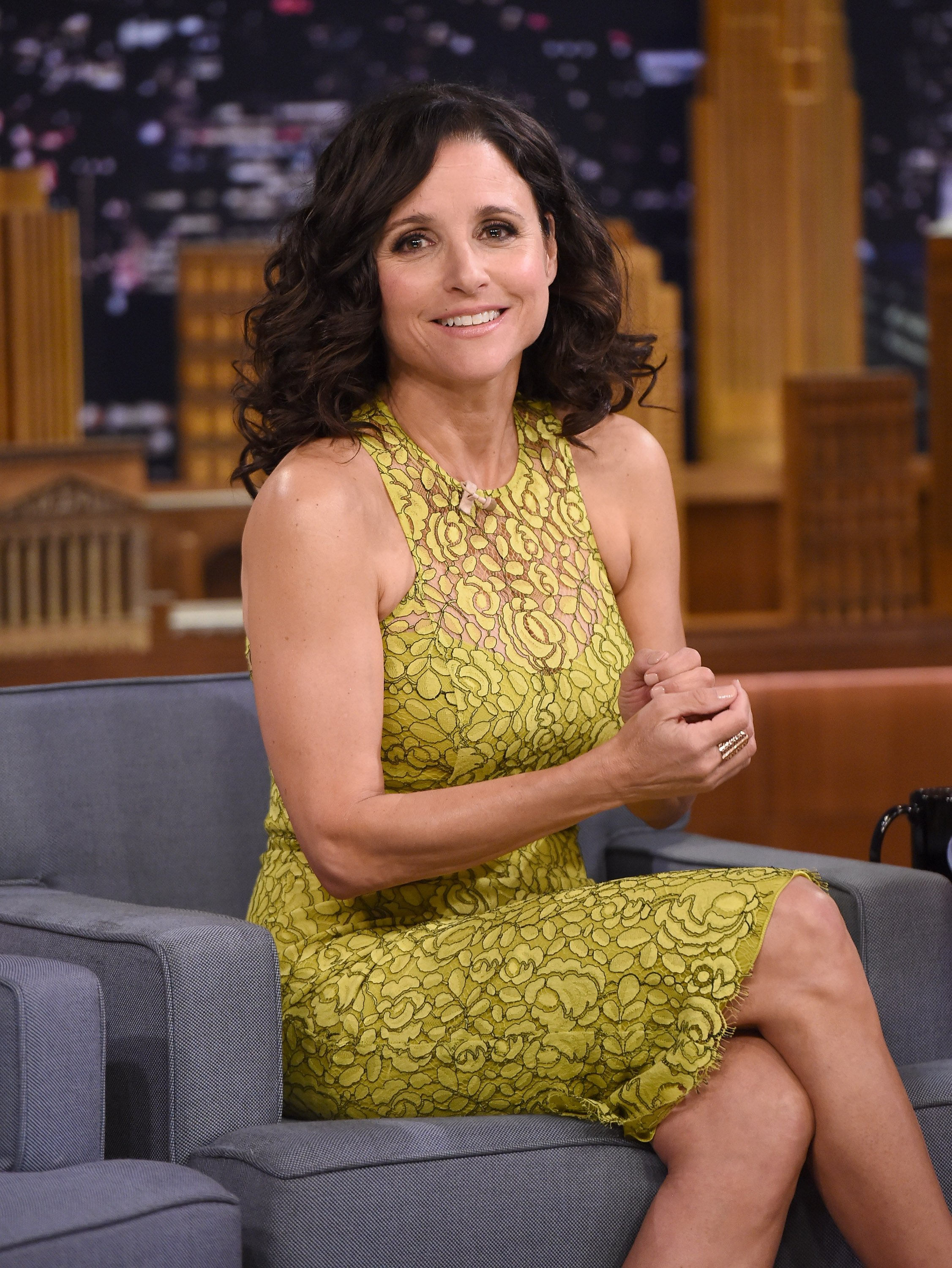 "Julia Louis-Dreyfus Visits ""The Tonight Show Starring Jimmy Fallon"" at Rockefeller Center on April 8, 2015, in New York City. 