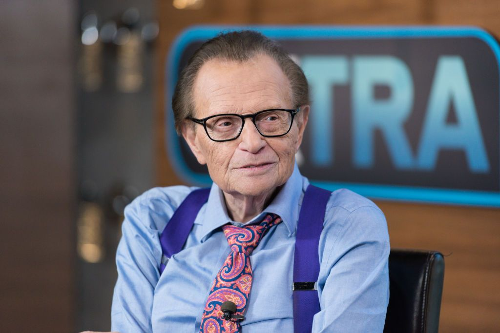 "Larry King visits ""Extra"" at Universal Studios Hollywood on September 12, 2017 