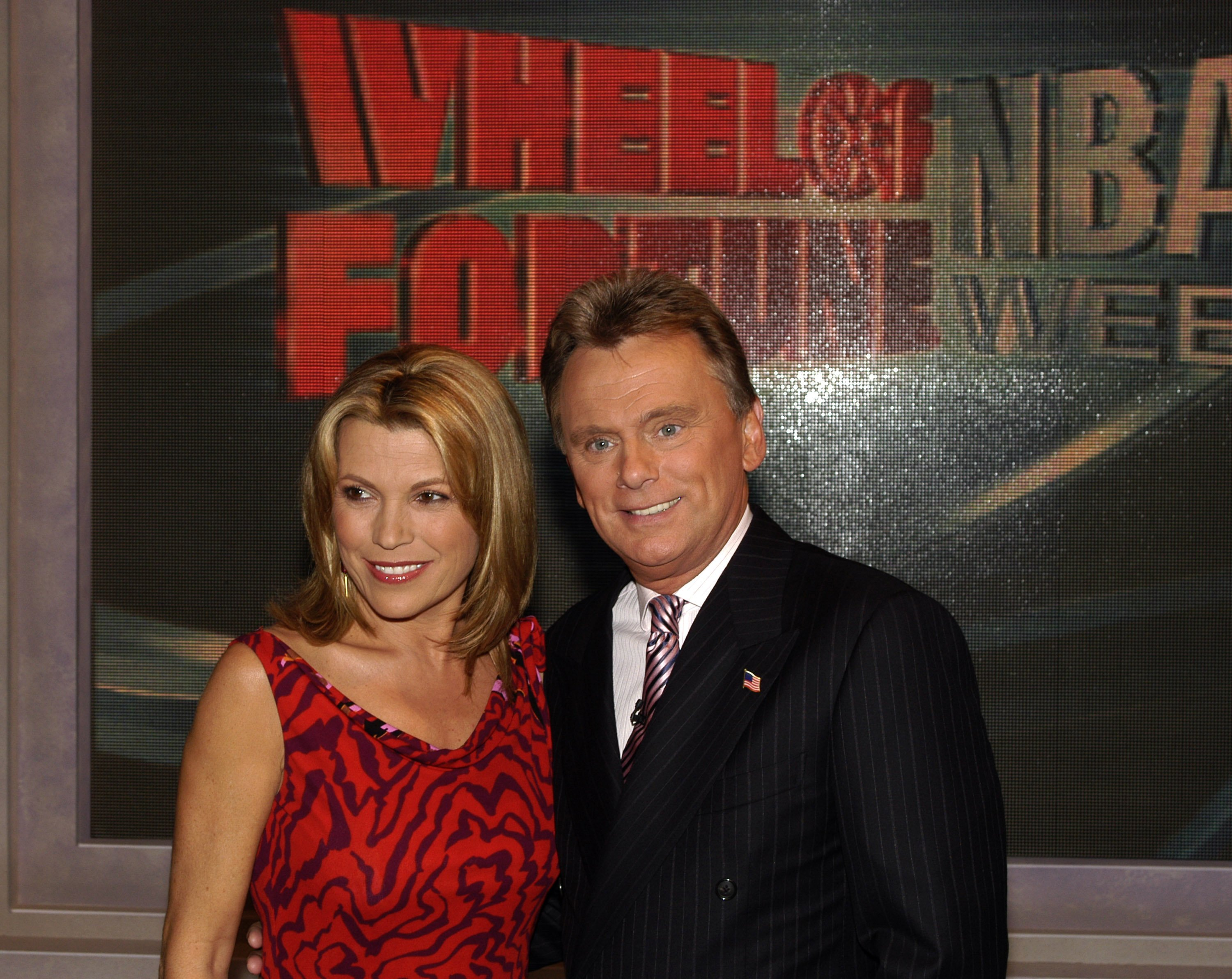 "Pat Sajak and Vanna White celebrate the 4000th episode of ""Wheel of Fortune"" in New York City on September 16, 2003 