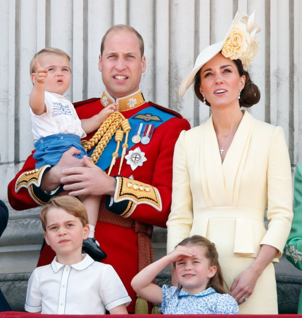 Prince William Kate Middleton, Prince Louis, Prince George, and Princess Charlotte on the balcony of Buckingham Palace during Trooping The Colour on June 8, 2019, in London, England. | Source: Getty Images.