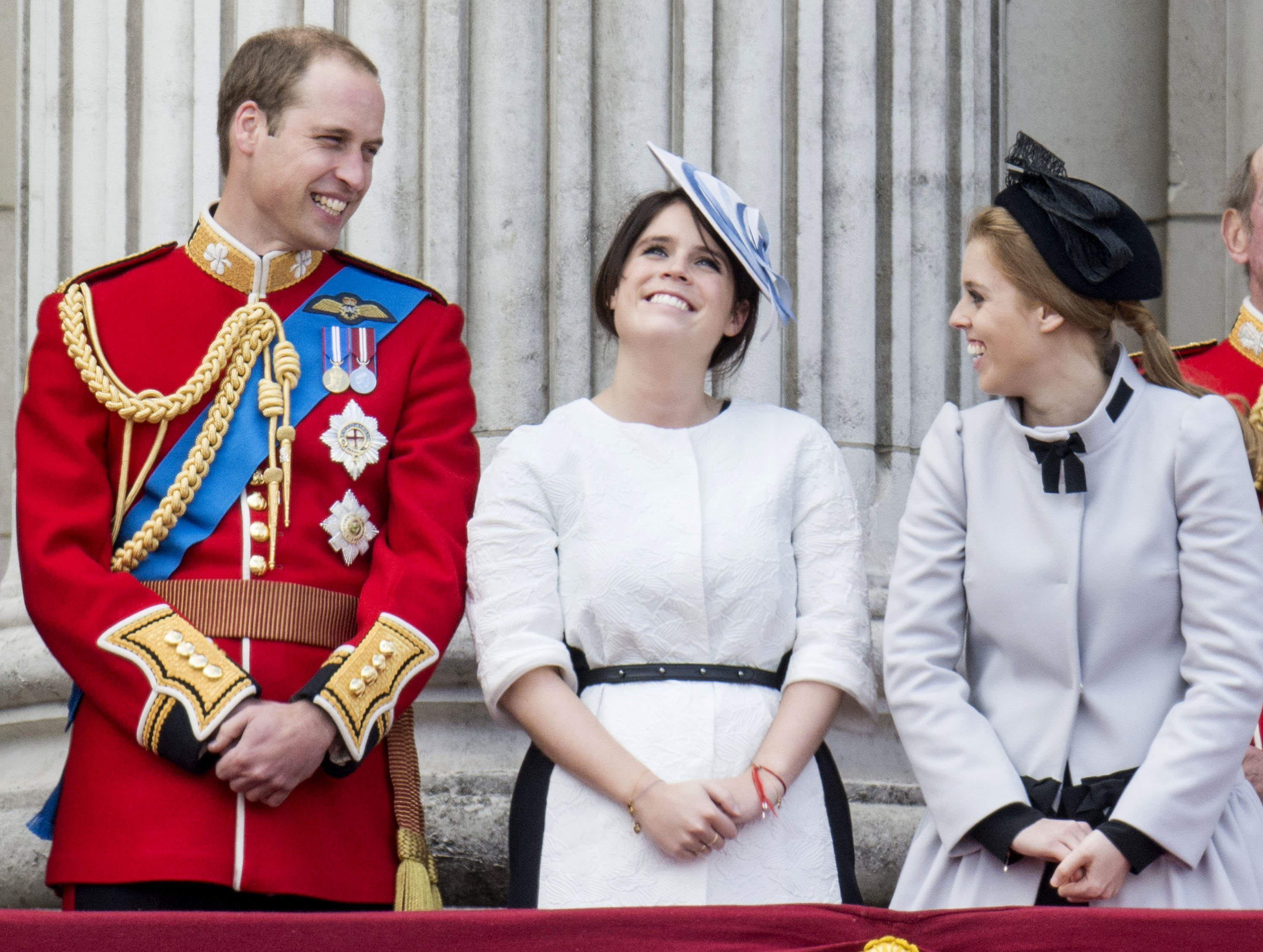 Prince William with Princesses Eugenie and Beatrice during the annual Trooping The Colour ceremony at Buckingham Palace on June 15, 2013 in London, England. | Source: Getty Images