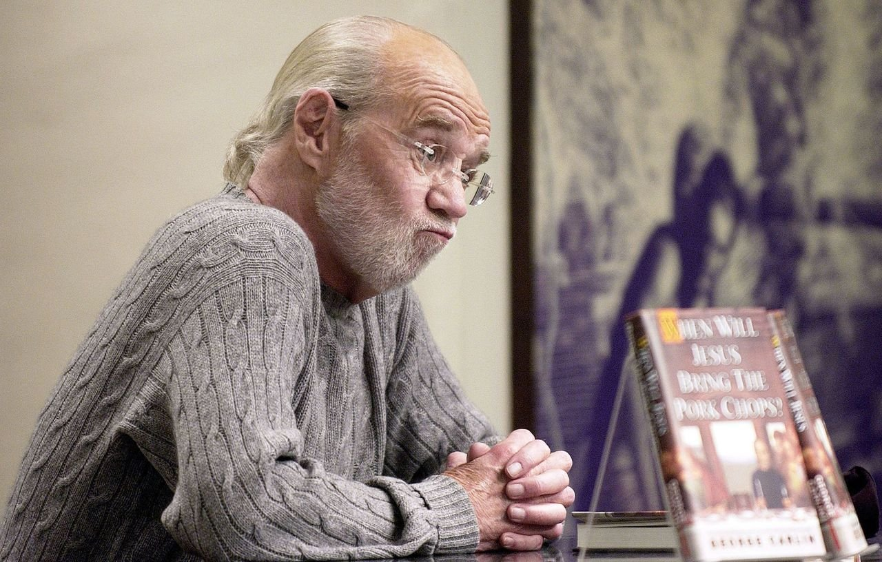 "George Carlin speaks about his new book ""When Will Jesus Bring The Pork Chops?"" at a book signing at Barnes and Noble. 