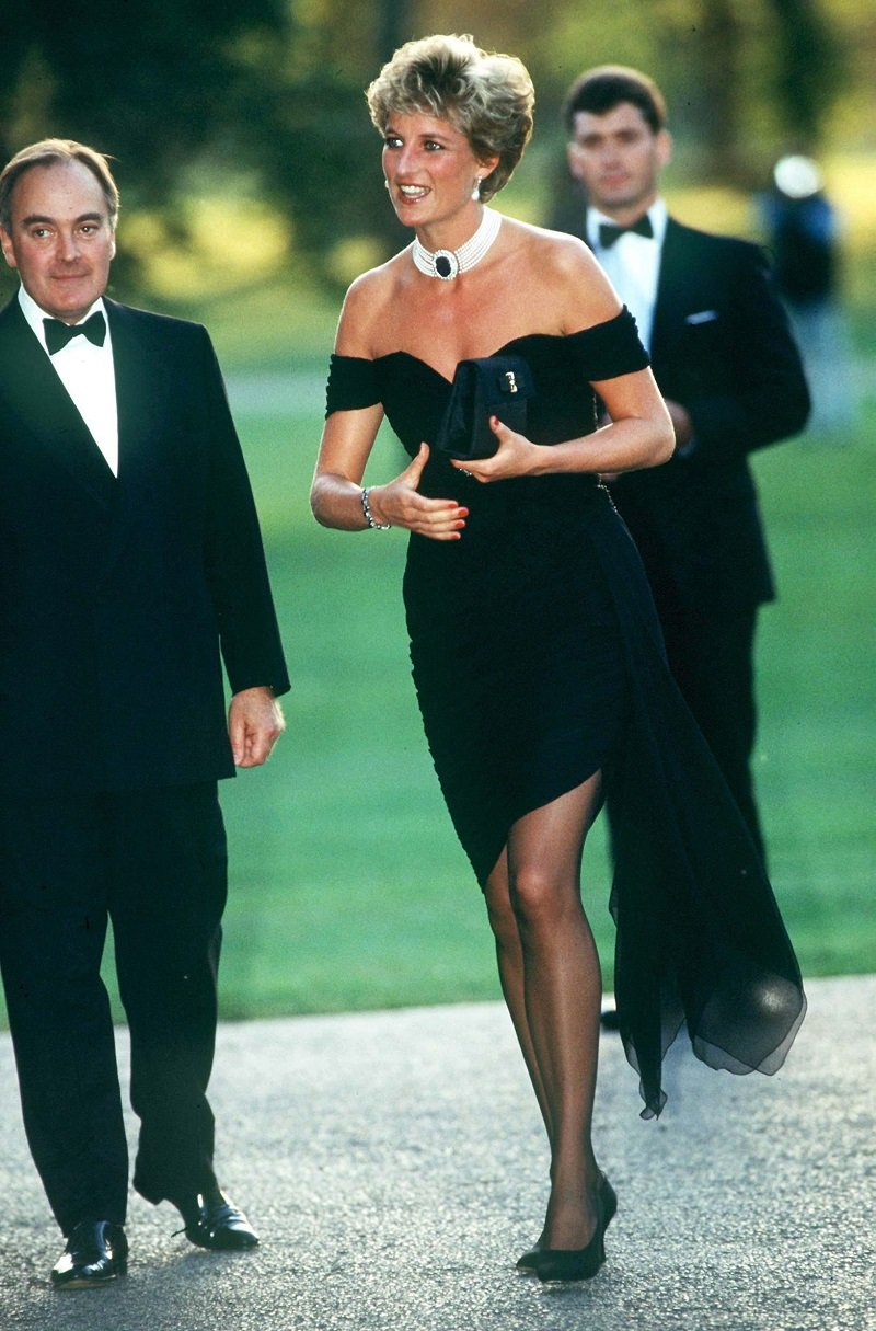 """Princess Diana wearing """"the revenge dress"""" at the Serpentine Gallery in London on June 29, 1994   Photo: Getty Images"""
