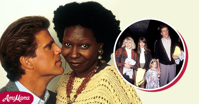 On the left Ted Danson and Whoopi Goldberg in a scene  from the film 'Made In America', 1993, in Hollywood. On the right, Danson with his second wife Casey and their children in Los Angeles in 1991. | Source: Getty Image