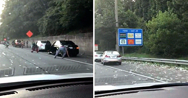People Stop on I-285 to Grab Money as Armoured Truck Loses about $175,000