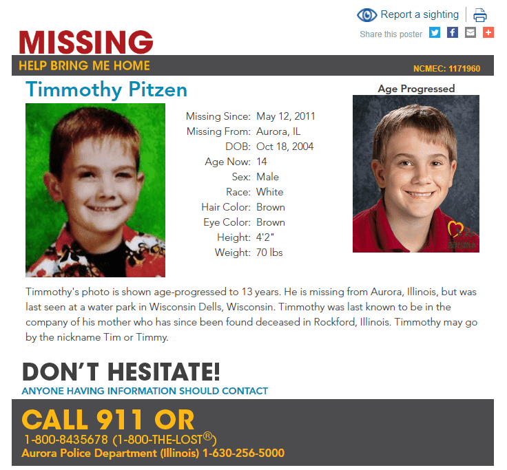 Missing Child Poster For Timmothy Pitzen | Source: Aurora Police Department (Illinois) & missingkids.org