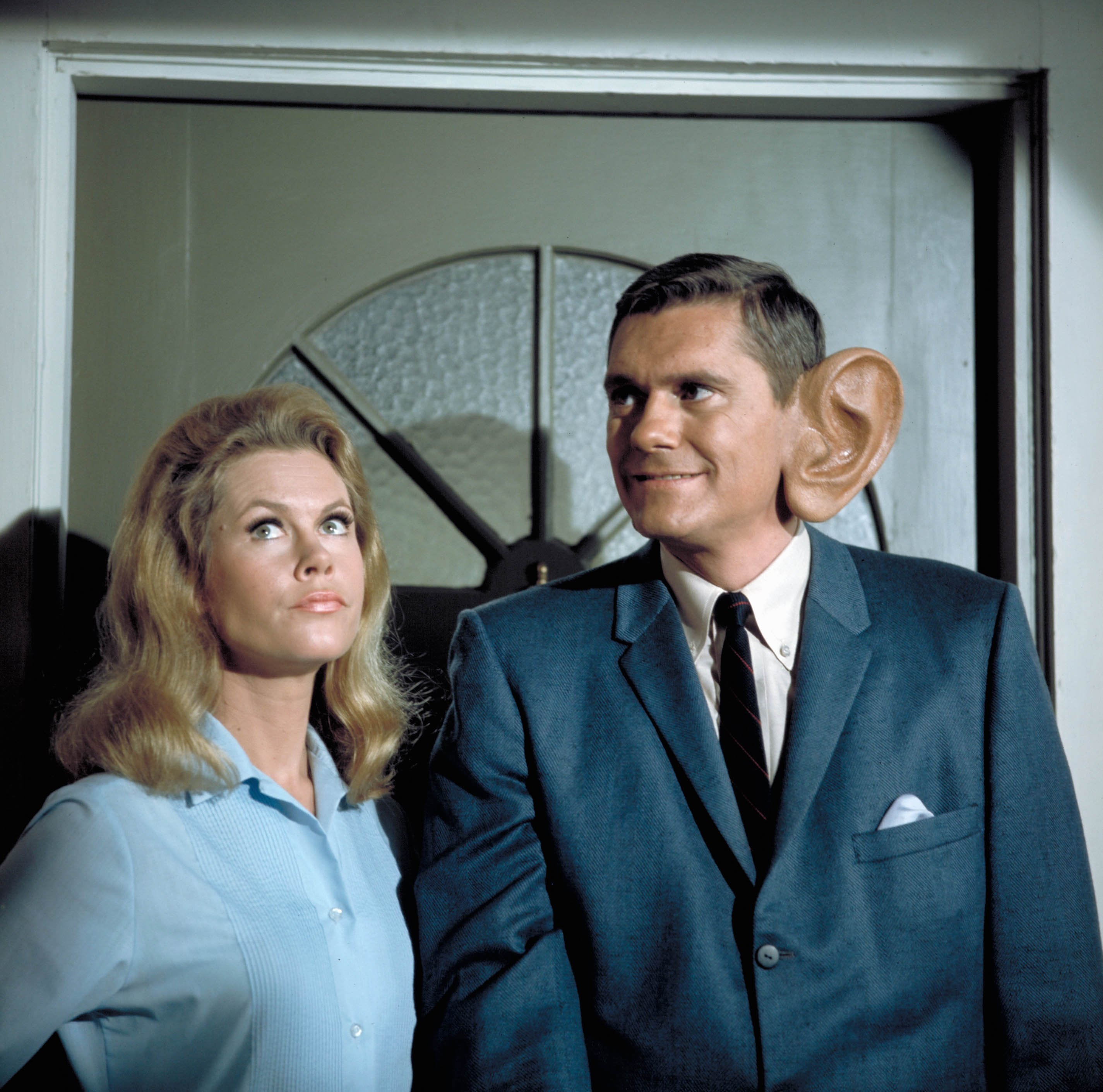 """Elizabeth Montgomery and Dick York on an episode of """"Bewitched"""" in season four on December 7, 1967 