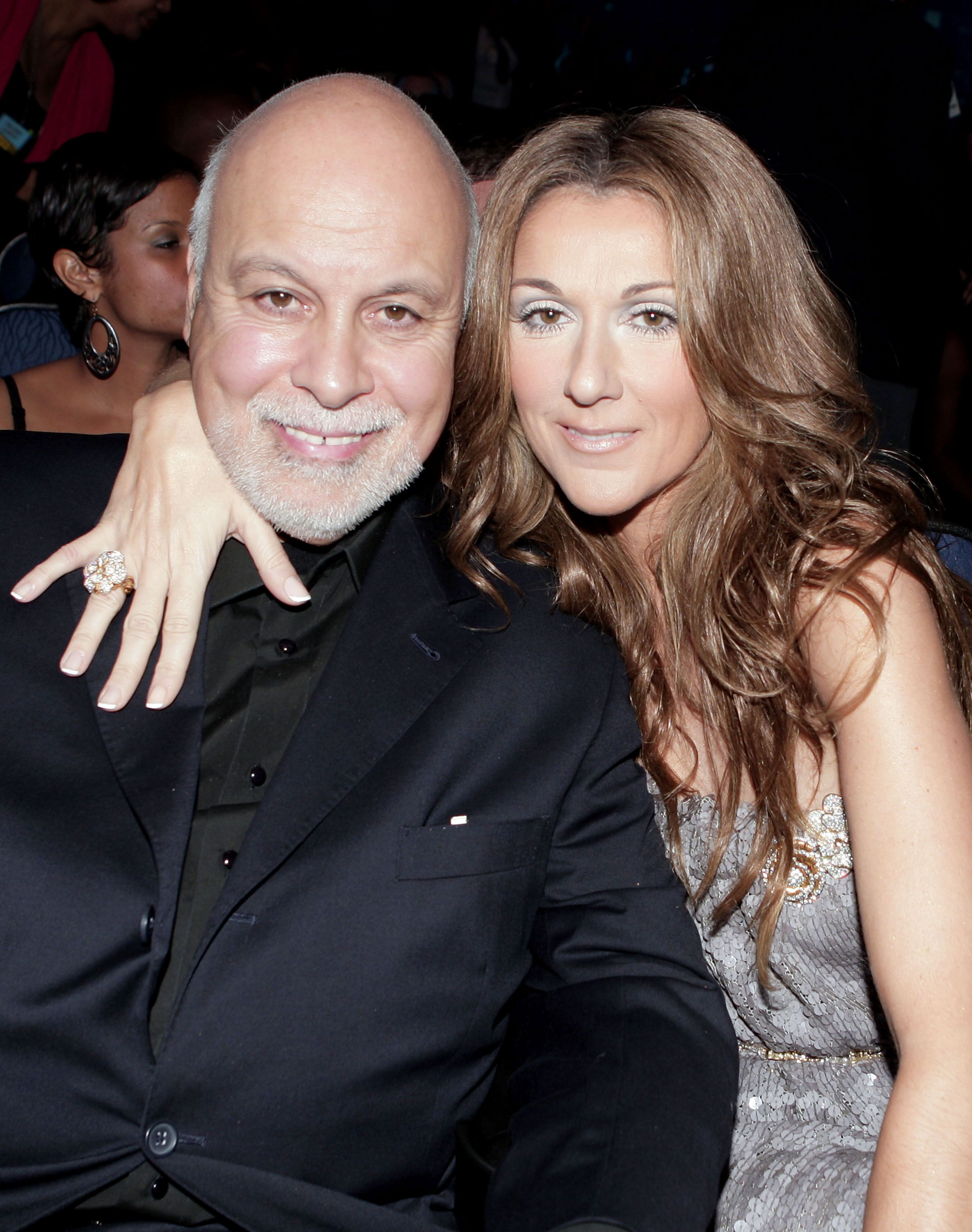 Rene Angelil and Singer Celine Dion in the audience during the 2007 American Music Awards held at the Nokia Theatre L.A. LIVE on November 18, 2007 in Los Angeles, California.   Source: Getty Images