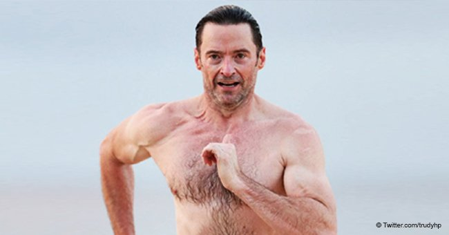 50-year-old Hugh Jackman flaunts with his perfect body on the pacific beach