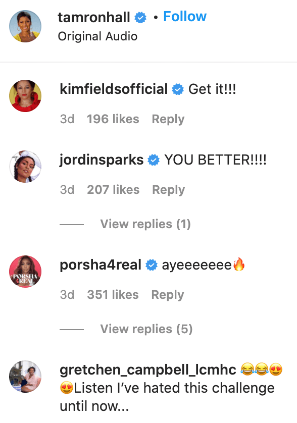 Kim Fields, Jordin Sparks, and Porsha Williams comment on Tamron Hall's post. | Source: Instagram/tamronhall