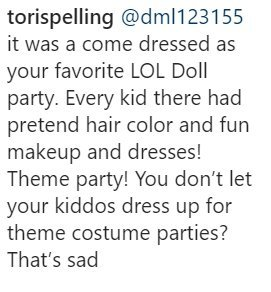 Tori Spelling replies to someone in her comments | Photo: Instagram/ Torispelling